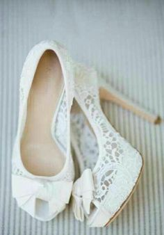 White high heels - weeding...these would make your bridesmaids shoes match your dress perfect! Without the bow on front though