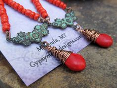 Long red earrings Boho earrings Patina dangle by Gypsymoondesigns
