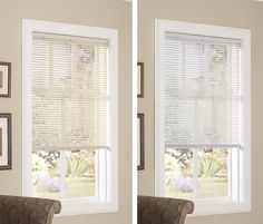 "1"" Vinyl Cordless Lift Mini Blinds Revolutionary Tilt Mechanism - No Wand Needed! Available at select Walmart stores (Better homes & gardens), walmart.com and menards stores (designer's image)."