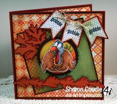 Art Impressions AI Shake Your Booty called Gobble Set! Handmade Thanksgiving turkey card.  Wobble action card.