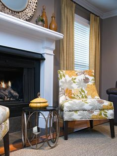 See the contemporary floral chair in this stylish gray sitting area on HGTV.com.