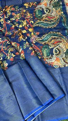 Kalamkari Saree, Silk Sarees, Printed Blouse, Frocks, Happy Shopping, Print Design, Product Launch, Colour, Big