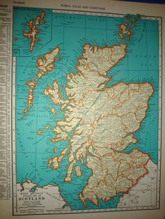 1939 Scotland Atlas Map. $12.00, via Etsy.