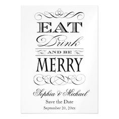 Eat Drink and Be Merry Save the Date Wedding Invitation Magnets