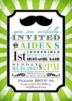DIY mustache birthday invitation--customizable. $20.00, via Etsy.
