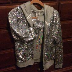 LOVE PINK sequin Hoodie Love PINK Victoria's Secret Fasion Show 2013 silver sequin hoodie. Brand new condition!! PINK Victoria's Secret Tops Sweatshirts & Hoodies