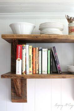 Keeping It Cozy: Reclaimed Wood Kitchen Shelves {I need a table saw! Diy Kitchen Shelves, Diy Kitchen Cabinets, Kitchen Redo, Kitchen Remodel, Kitchen Ideas, Kitchen Inspiration, Reclaimed Wood Kitchen, Reclaimed Wood Shelves, Rustic Shelves