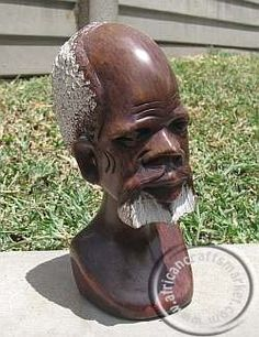 An African hand carved bust of an old African Zulu man The head is carved out of stone and shows and old balding man with a white beard Sculpture Art, Garden Sculpture, Sculptures, Royal Lineage, Heart Piercing, Zulu, Stone Carving, Old Men, South Africa
