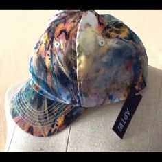 Multicolor satin baseball cap Super cute baseball cap in pretty watercolor satin. This is NWT and never worn. Apt. 9 Accessories Hats