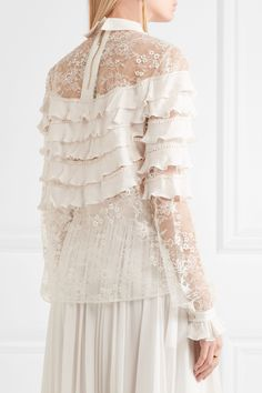 Elie Saab | Ruffled georgette and lace blouse | NET-A-PORTER.COM