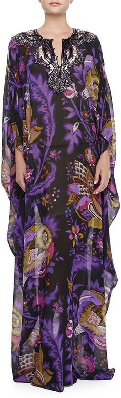 Roberto Cavalli Long-Sleeve Caftan with Embellished Neckline on shopstyle.com