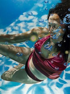 """Unbound"" - Eric Zenner (b. 1966), oil on canvas, 2013 {figurative realism art female swimmer bubbles woman painting} ericzener.com"