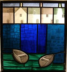 Stained glass panel of harbour in Cornwall