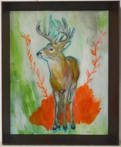 """Love the color contrast in this majestic buck! """"Don't Shoot"""" by Katherine McClure. 11 x 9 inches.  Mixed media covered in resin mounted to wood panel. SOLD #antlers"""