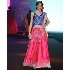 Rani Pink Pure Silk Lengha with Embroidery  SKU: M-DE23NOV11BD32