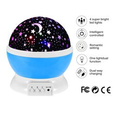 Night Lighting Lamp Projector by ZoroPlan [ 4 LED Beads, 3 Model Light, 3.3FT USB Cord ] Romantic Rotating Cosmos Star Sky Moon Projector for Children Kids Bedroom (Blue) -- Once in a lifetime offer : Nursery Decor