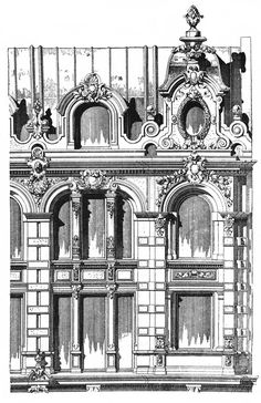 Trading House in Berlin. Architect Bohm. The architecture of the second half of the XIX century. Drawings and sketches.