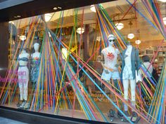 window display color strings easy and inexpensive focal point
