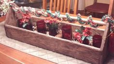 I used a old tool box to create a Christmas centerpiece for my table