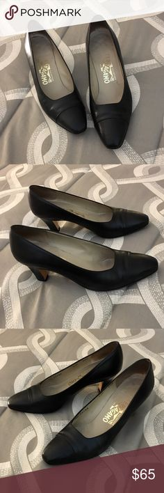 "Salvatore Ferragamo Black Heels Authentic Salvatore Ferragamo Black Leather Heels with snakeskin toe.  The only wear is in the interior and soles of the shoes.  2 1/2"" heel.  Size 7.5B. Salvatore Ferragamo Shoes Heels"