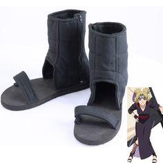 NARUTO Temari Ninja Shinobi Cosplay Shoes Black Halloween Boots