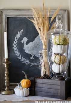 Upcycle thrifted finds to create a rustic, vintage vignette for fall or Thanksgiving. upcycledtreasures.com