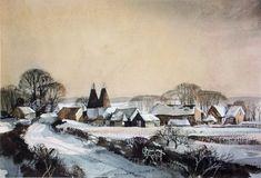 Rowland Hilder, UK.   Using black in watercolour painting