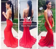 Cheap 2014 Prom Dress - Discount 2014 Sexy Red Spakly Robe De Soiree Beaded Mermaid Prom Dresses with Halter Neck Backless Lace Up Sweep Tra...