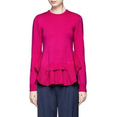 Cédric Charlier Ruffle hem virgin wool sweater ($995) ❤ liked on Polyvore featuring tops, sweaters, pink, ruffle hem top, ruffle hem sweater, pink sweater, ribbed sweater and pink top