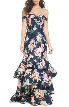 Sequin Hearts Off-The-Shoulder Floral Print Tiered Trumpet Dress Mob Dresses, Formal Dresses For Women, Junior Dresses, Cute Dresses, Fashion Dresses, Vestidos Junior, Trumpet Dress, Heart Dress, Mermaid Prom Dresses