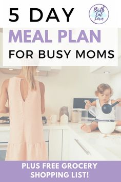 Tired of take out and stressing about what to cook? Meal planning can help! This easy 5 day meal plan for busy moms includes slow cooker recipes. Take the thinking out of what to eat for dinner.