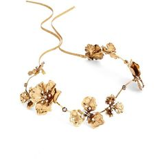 Women's Twigs & Honey Wavy Gilded Antique Flower Headband (€260) ❤ liked on Polyvore featuring accessories, hair accessories, hair, jewelry, antique gold, bride hair accessories, flower headbands, flower hair accessories, tie headbands and swarovski crystal hair accessories