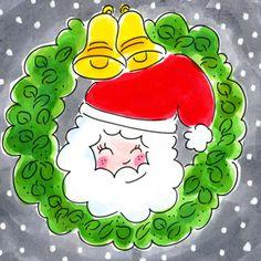 Kerstman met kerstkrans en kerstbellen- Greetz