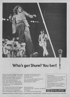 The rest of the band have used Shure SM-58 for vocals until recently, using Shure Beta 58s or Shure Beta 87As. Description from thewho.net. I searched for this on bing.com/images
