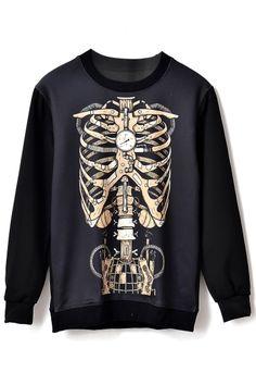 Mechanism Chest Bone Print Sweatshirt
