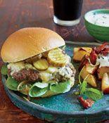 Garlic Sherry Burgers with Stilton & Pub Browns with Horseradish Sauce