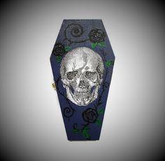 Halloween Skull Coffin Ring Box In Purple Blue, Skull Gift Box, Coffin Gift Box…