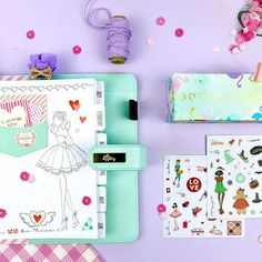 My Prima Planner is here with four gorgeous and unique planners! This edition features unique artwork from Julie Nutting with her very popular doll line! Inside the minty blue planner are clear pockets to create your own doll bookmarks, a zippered pouch, Kikki K, Prima Planner, Monthly Planner, Planner Stickers, Julie Nutting, Plan For Life, Prima Marketing, Art Journal Inspiration, Journal Ideas