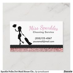 Cute Business Cards, Cleaning Business Cards, Cleaning Companies, House Cleaning Services, Promote Your Business, Clean House, Polka Dots, Logo Ideas, Maids