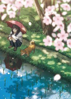anime girl with dog