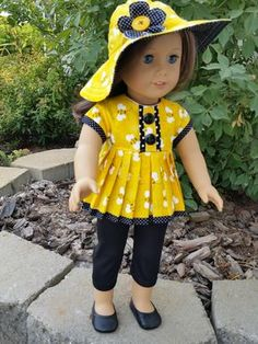 Bee Happy 18 inch doll clothes or American Girl Doll clothes by GPDollDesign on Etsy https://www.etsy.com/listing/462442416/bee-happy-18-inch-doll-clothes-or