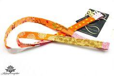 Buntes Stoff Schlüsselband der #Lieblingsmanufaktur: hier in rosa, orange, gelb und weiß