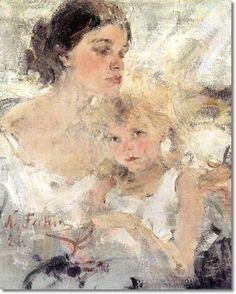 """chasingtailfeathers, formerly veareflejos: """" Nicolai Fechin - Portrait of his wife and daughter Fechin's bio at the Taos Art Museum """" Figure Painting, Painting & Drawing, Nicolai Fechin, Impressionist Art, Russian Art, Russian American, American Artists, Figurative Art, Fine Art Prints"""