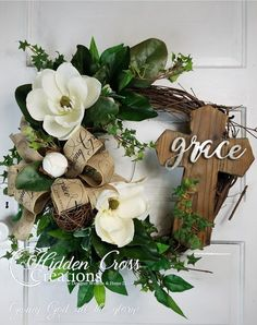 Magnolia Wreath for Front Door Southern Magnolia Wreath Summer Wreath Elegant Wreath for Front Door Easter Wreaths, Holiday Wreaths, Vine Wreath, Tulip Wreath, Cross Wreath, Wreaths For Front Door, Front Doors, Mesh Wreaths, Magnolia Wreath
