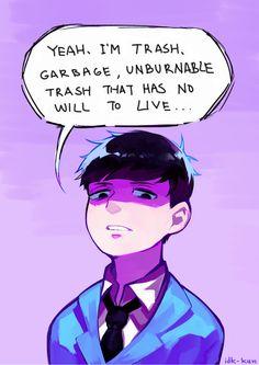"""Unburnable trash, need to write that one down"" -Ichimatsu Dark Anime Guys, Anime Love, Osomatsu San Doujinshi, Cool Art, Nice Art, First Down, Ichimatsu, My Spirit Animal, Anime Shows"