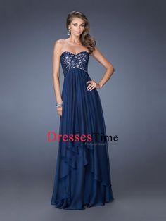 Strapless Sweetheart Lace Chiffon Prom Dress PD2668