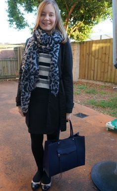 awayfromblue winter print mixing striped henley polka dot pencil skirt leopard scarf office wear