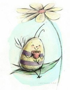 illustration by Jennifer A Bell ~~~happiness :) Bee Illustration, Illustrations, Bee Painting, Bell Art, Cute Bee, Bee Happy, Whimsical Art, Rock Art, Cat Art
