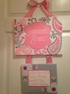 Hey, I found this really awesome Etsy listing at https://www.etsy.com/listing/187681929/pink-and-gray-hospital-door-hanger
