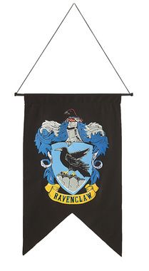 Dark-colored banner with crest. Polyester banner, cord, and plastic pole. 20…